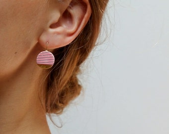 Red and gold porcelain earrings, ceramic jewelry, modern minimalist, red stripes
