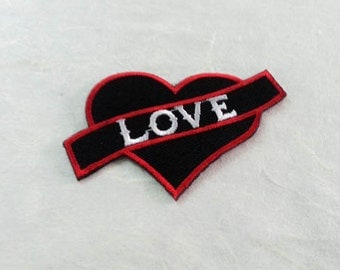 Heart & Love Text Iron on  Patch - Love Text - Iron On Patch Embroidered Applique Size 7.2x 4.5 cm