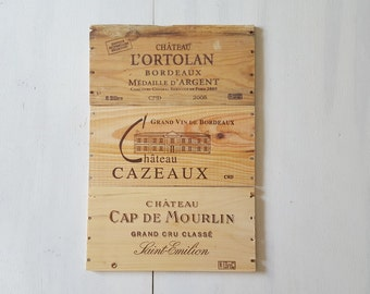 3 French wood wine crate panel for cellar kitchen den office repurpose DIY ! Ref 169616