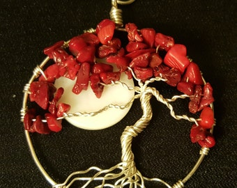 Moonlit Red Bamboo Coral Wire-Wrapped Tree of Life