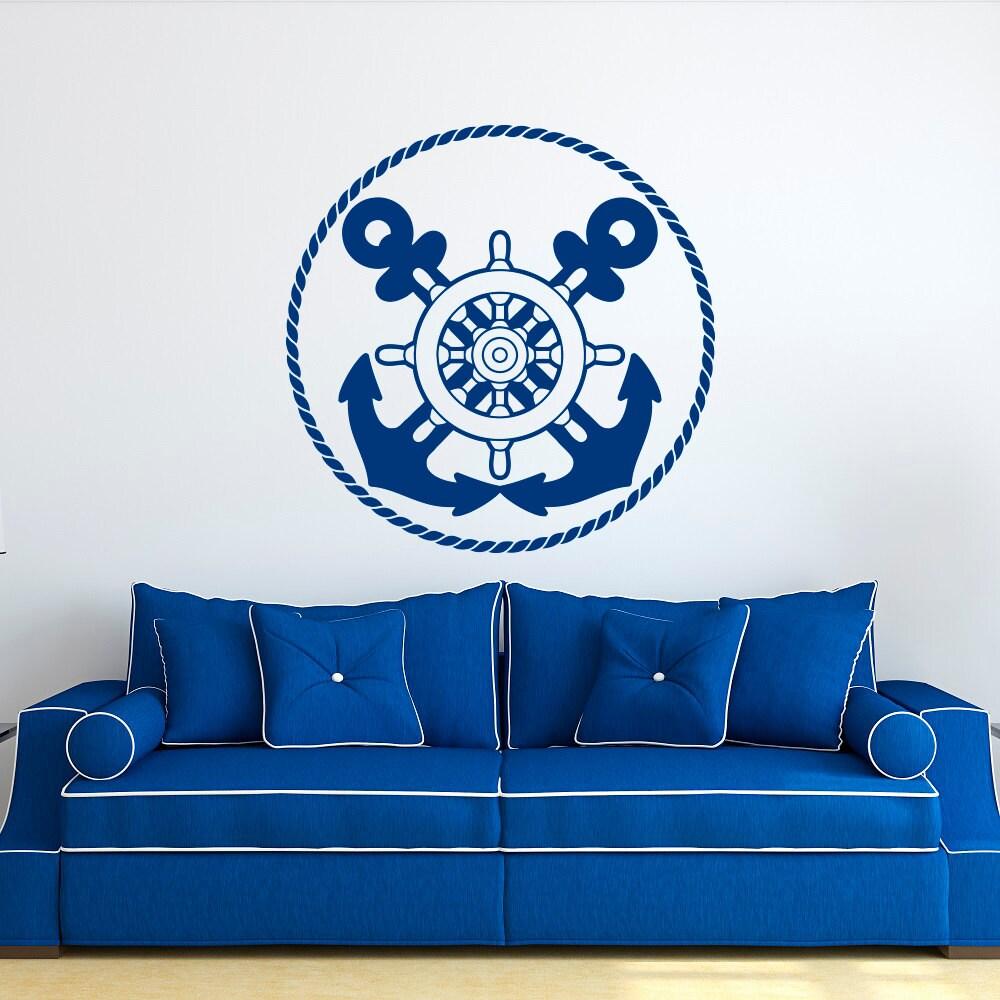 nautical wall decal anchor wall decal ship wheel decor. Black Bedroom Furniture Sets. Home Design Ideas