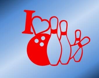 Love Bowling - Vinyl Car Decal - Vinyl Car Window Decal - Vinyl Laptop Decal - Vinyl Mirror Decal -  Bowling Decal - I Love Bowling