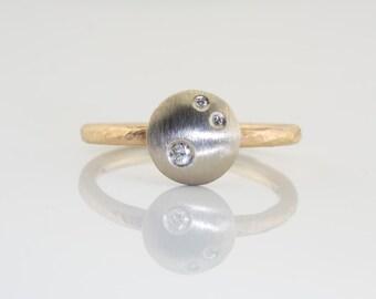 Stack Diamond ring, Diamond engagement ring, white diamond ring, diamond jewelry, bezel diamond ring, engagement diamond ring, 14K gold