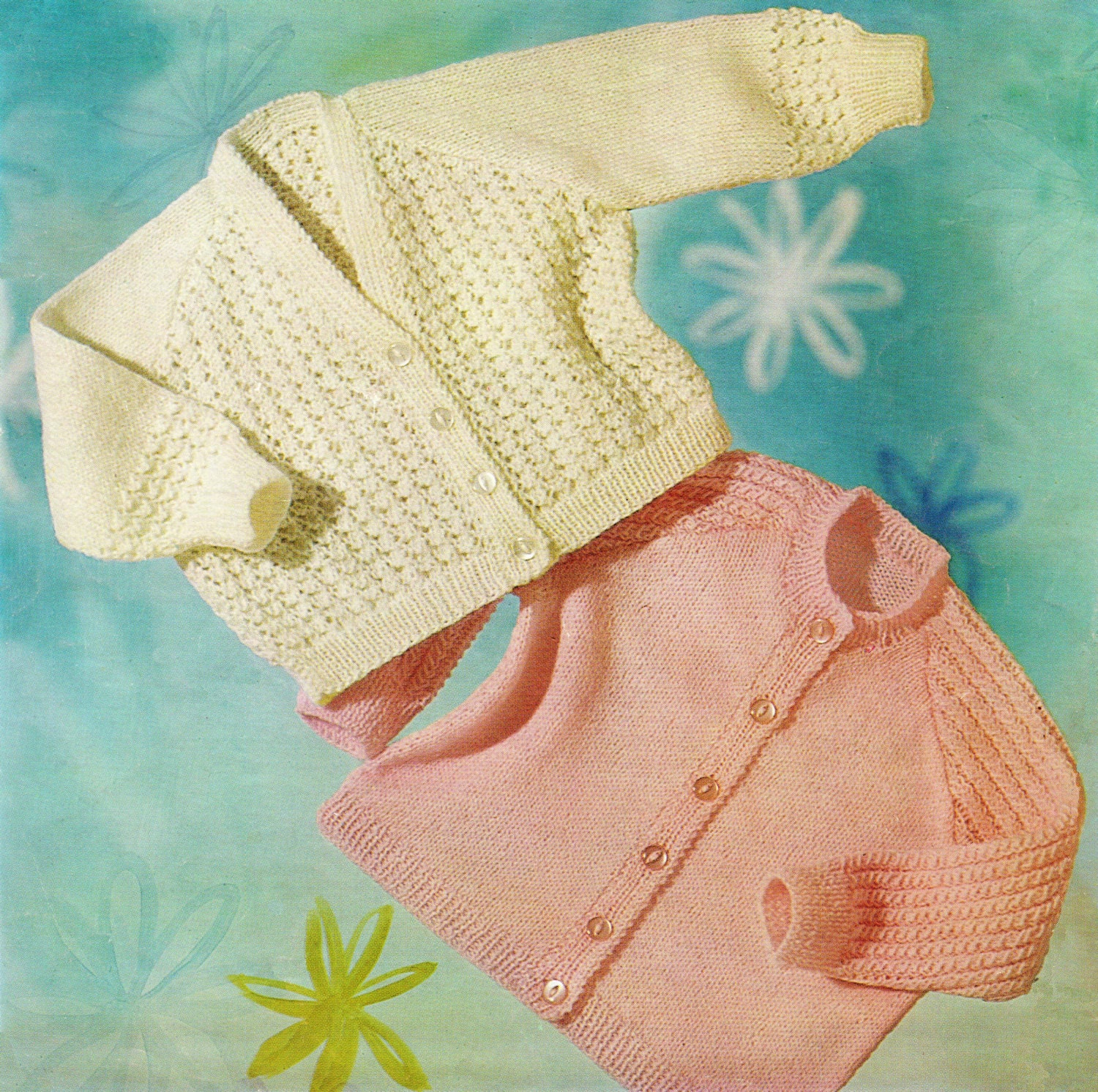 Baby Cardigans Knitting Pattern - 6 to 9 months - 3 ply ...