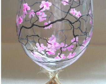 Hand painted Celebration Wine Glass 'Cherry Blossom', commissions accepted, can be personalised.