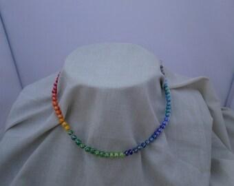 Rainbow Czech Beads Sterling Silver Wire Choker