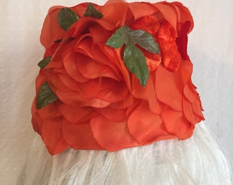 Vintage 60s Bucket Hat - Orange Flower Petal Cloche - 1960s Roses Hat