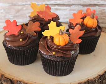 Fall leaves and pumpkins cupcake toppers set of 36-fall leaves, fondant pumpkins, thanksgiving cupcake toppers, fondant turkeys