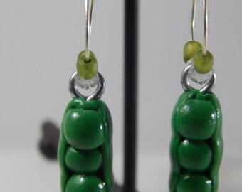 Pair of Green Pea Hoop Earrings Handmade from Polymer Clay