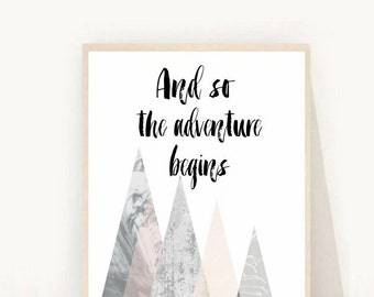 And So the Adventure Begins, Printable Art, Travel Poster, Wall Decor, Home Decor, Instant Download, Mountain Print
