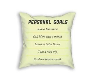 Personal Goals Throw Pillow, 2016 Personal Goals Pillow, Goals Throw Pillow, Goals Pillow Case, 18x18 Decorative Pillow
