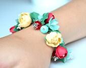 Wedding bridal flower floral bracelet. Peony blossom bracelet. Bride corsage. Bridesmaid  flower bracelet