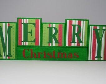 Merry Christmas Block Set, Christmas decoration, Wooden block set, Christmas blocks, small block set, christmas decor, merry christmas block
