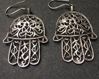 Hand of Fatima earrings - Hamsa - Handmade in Cairo