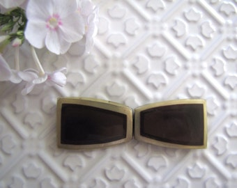 Art Deco Lucite Belt Buckle, Brown and Gold, Sash Buckle, Early Plastic Belt Buckle, 1930's-1940's, Vintage Buckle, Dress Accessory,
