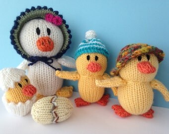 Knitted Ducks. Puddle Duck Family.Baby Shower Gift. Australian made Toy. Nursery Gift.
