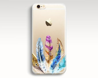 iPhone 7 Case, Clear iPhone 6s Case, Feathers iPhone 6 Case, iPhone 6 Plus Soft Rubber iPhone 5s Case iPhone SE Tribal iPhone 6s Plus Case