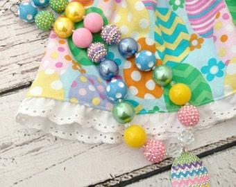 Easter necklace - girls rhinestone pendant necklace - Easter egg necklace