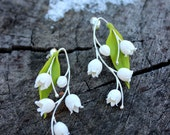 FREE SHIPPING, Lily of the valley cold porcelain Earrings, silver 925 wedding Flower Earrings, stud Earrings, spring valley Earrings
