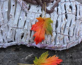 BUY 2 PAIRS - GET 3. Cold porcelain Earrings - autumn leaves - Orange- Halloween - gift for her - Colorful earrings - Creative earrings