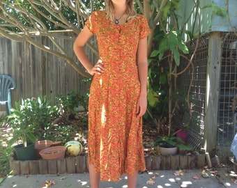 Vintage Daisy Midi Dress, Size 10