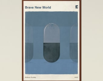 """Aldous Huxley """"Brave New World"""" - Large Book Cover Poster, Literary Gift, Minimalist Poster, Dystopian Sci Fi Art, Instant Download"""