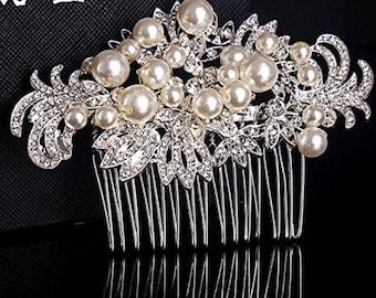 Rhinestone pearl bridal comb, Bridal headpiece, Wedding headpiece, Hair accessories, Hair jewelry, Bridal hair comb, Bridal hair piece