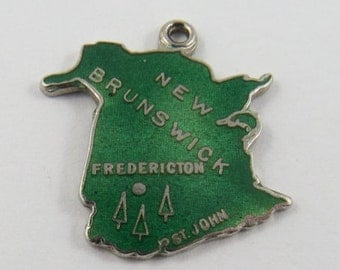 Map of New Brunswick With Green Enamel Sterling Silver Vintage Charm For Bracelet