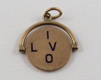 I Love You With Black Enamel Flip Mechanical 9K Gold Vintage Charm For Bracelet