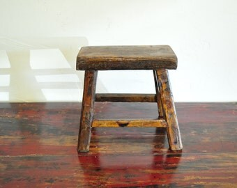 Vintage Rustic Stool, Chinese Stool, Chinese Antique Shelf, Step Stool