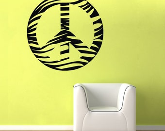 Zebra Peace Sign Wall Decal