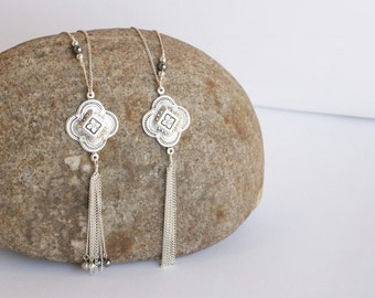 Silver Tassel Necklace, Long tassel necklaces, Christmas gift, Silver long necklace,Long silver necklace,necklace tassel /N-109