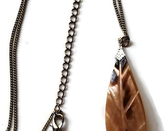 Handmade vintage Mother of Pearl pendant and necklace