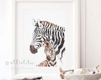 Zebra Nursery Print, Safari Nursery Art, Giclee, Mom and Baby Zebra Print, Zebra Nursery Décor, Safari Nursery