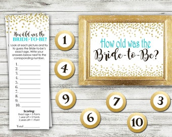 Bridal Shower Game Download - How Old Was the Bride - TEAL and GOLD - Instant Printable Digital Download - diy Bridal Shower Printables