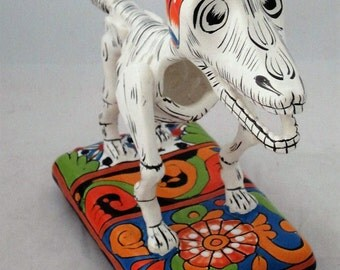 "Talavera Dog, Day of the Dead Dog, 12"" Talavera Pottery, Mexican Pottery #2- Includes Shipping"