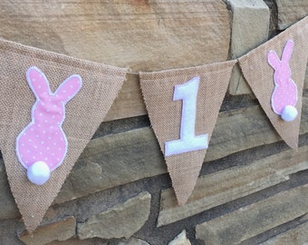 Bunny birthday banners, Bunny birthday set, Bunny highchair banner, bunny decor, spring birthday themes, bunny banner set, bunny custom set