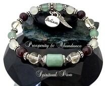 ATTRACT PROSPERITY,ABUNDANCE,Energy,Healing Crystal,Reiki,Stretch Bracelet,Silver,Believe,Angel,Charm,Genuine Gemstone Description,Gift Bag
