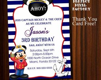 Mickey Mouse invitation,Nautical Mickey Invitation,Nautical Mickey Birthday, Mickey Mouse Birthday Invitation,Disney invitation,Nautical