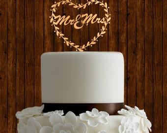 Mr and Mr cake topper, wedding cake topper, wreath cake topper, heart cake topper, wood cake topper, laser cut cake topper, rustic topper