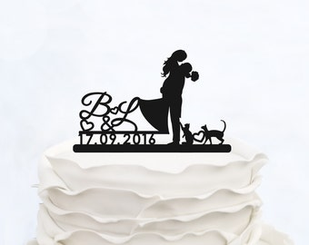CUSTOM CAKE TOPPER with Initials_Wedding Cake topper with date_Personalized cake topper cats_bride & groom silhouette with animal