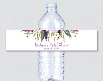 Purple Floral Bridal Shower Printable Water Bottle Labels - Purple and Gold Garden Bridal Shower Personalized Water Bottle Labels - 0008