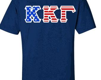 Kappa Kappa Gamma Twill American Flag Tee