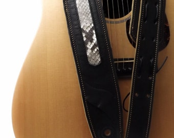 Exclusive Guitar Strap made of Full Grain Cowhide Leather with Twin-Layers of Leather with the Natural Skin of Python