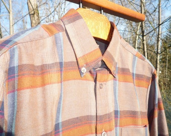 MARCEL BRIONI M brown and blue plaid beautifully made of soft polyester/cotton cloth, long sleeve plaid shirt