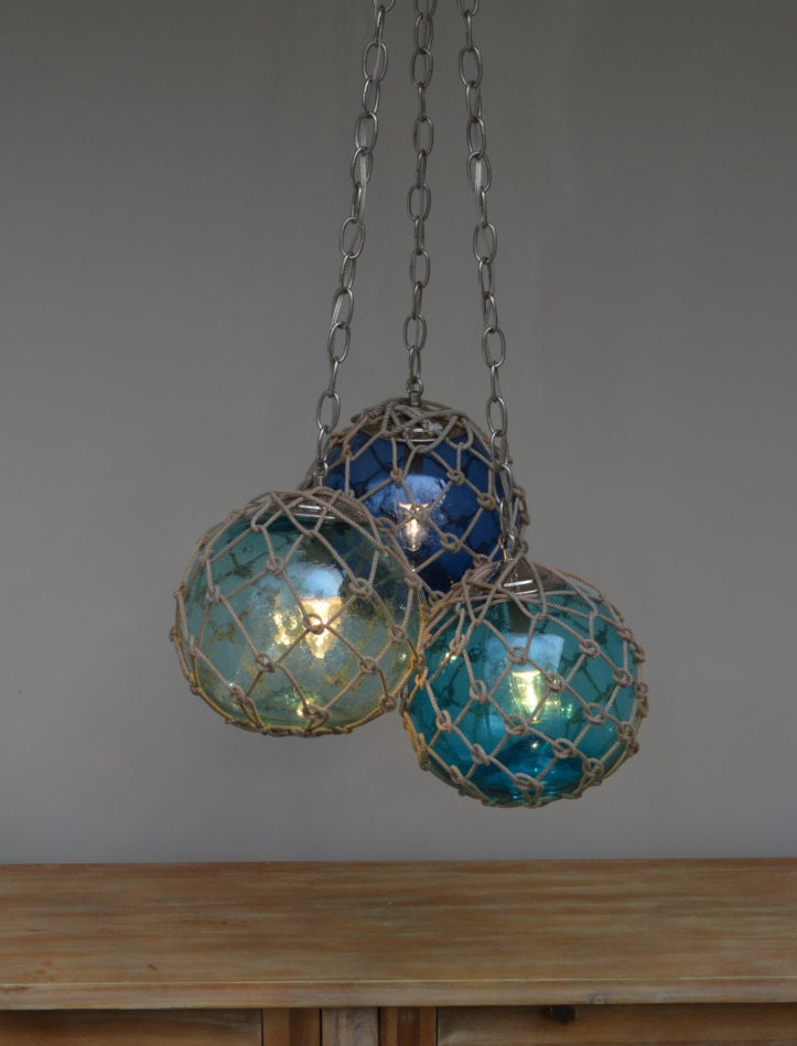 Vintage Glass Fishing Float Cluster Pendant Light With 3