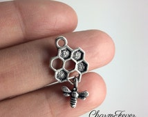 6 Bee and Honey Comb Charms - 26x13 mm - Antique Tibetan Silver Tone- One Sided Charm -  Ref. 1156