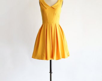 SUNDAY | Mustard -sunny mustard yellow pointed collar dress. vintage inspired bridesmaid dress. full pleated skirt with pockets.