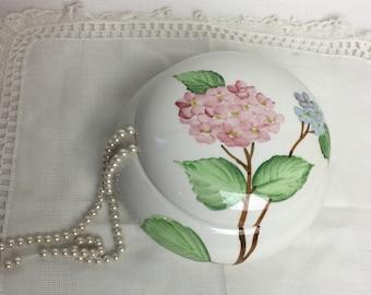 Round White Ceramic Trinket Box Made in Italy for Robinson's Hydrangeas Floral Design