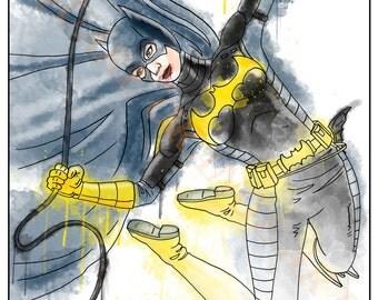 Batgirl Batman Inspired Splash Art A4 Print